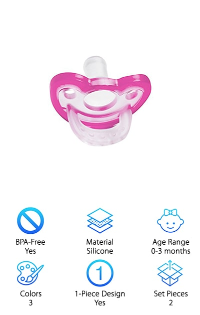 The RaZbaby JollyPop looks as fun as it sounds! Available in three colors, this transparent pacifier with a dark-colored rim is BPA-free and made from hospital-grade silicone. Created according to stringent health and safety guidelines, it is molded into a one-piece design. You can be sure baby is suckling away at a pacifier that won't get make him or her sick. In fact, germs won't find a home anywhere on this model, due to its open-air design. Created to support your baby's natural orthodontic development, rest assured the JollyPop won't result in tooth or gum issues, either. You don't have to sacrifice a thing when it comes to the JollyPop, because all bases are covered to bring you the best pacifier possible. Best of all, it is ultra-durable, dishwasher-safe, and can be easily sterilized. When it comes to the best pacifiers for breastfed babies, the calming nipple on this awesome pacifier is the perfect option.