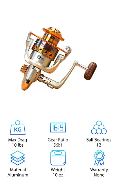A spinning reel needs to perform just as well the 20th time as it did the first time. It needs to stay light, and easy to handle, as it pulls in fish after fish. Bonus points if that reel functions just as well in salt water as it does in freshwater. Do you want a reel that can do all of that? Try the Goswot Fishing Spinning Reel on for size. You will get 12 ball bearings, which is nearly a guarantee of a smooth retrieve. You will head out on your boat with a smile on your face, and that smile will be in place when you return with a cooler full of fish. The Goswot comes in multiple slow-speed, medium-speed, and fast-speed sizes, but we recommend hitting right in the middle with the EF4000, the EF5000 or the EF6000. The rocker arm is interchangeable and collapsible on every model. You've got a stylish wooden handle for controlling the good times!
