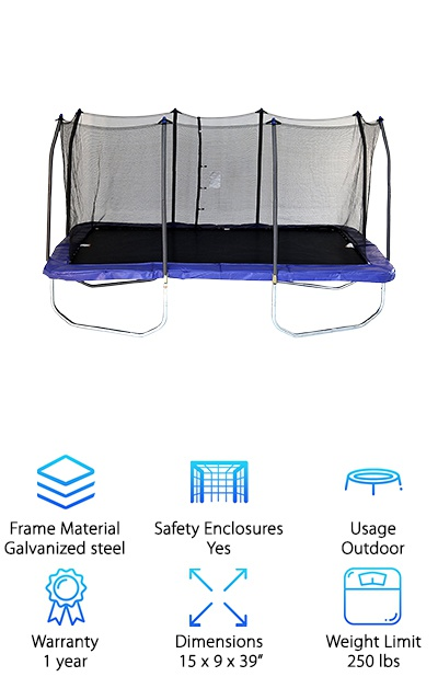 Skywalker is one of the best trampoline brands and this best rectangle trampoline demonstrates why. The enclosure net is exceptionally effective. It encircles the whole edge without leaving any gaps at the bottom. The netting is made to stand up to the constant UV exposure. This is ideal for an outdoor trampoline that spends a lot of time in the sun. The spring pads are filled with 1 inch thick padding for an extra effective layer of protection. Overall, this is an exceptionally well-built frame and is the best outdoor trampoline. It's made with galvanized steel for rust-resistance and stability. It also has T-sockets for stabilization and to provide some extra support. There are 76 springs which makes this trampoline bounce so nice, even gymnasts will love it. Because this is a rectangular trampoline, spring placement is important to make sure that the bounce is the same across the whole jumping area. Skywalker nailed it.