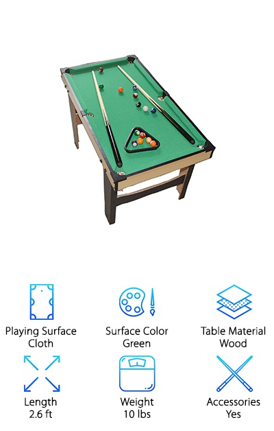 If little Johnny or Sally shows an interest in pool, you don't need to rush them off to the closest bar. Bring the game home to them with the WGW Small Tabletop pool table set. A more affordable choice than the traditional full-size table, this billiards set is a breeze to set up and play on. It gets better: This table also makes the perfect gift. In addition to including the necessary cue sticks, ball set, and rack, you will also receive game play instructions. This table measures just over two and a half feet in length, so it can fit nearly anywhere. Stop eating dinner at the dining table and make it billiards central instead! It will be a bonding experience for you and your friends or your loved ones. One last thing: This table is recommended for ages three and up, so even the smallest members of the family can get some enjoyment out of it!