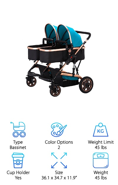 The Yilaiboa makes our list as our favorite pick for bassinet-style double stroller side by side design. This beautiful model makes for an ideal setting when you have young infants and newborns who need to sleep often and are most comfortable laying down. The best part, though? It transitions into a toddler stroller for children up to three years old and even provides a foot cover to protect little feet from the cold and wind. The seats are reversible, giving you the option to face your children or let them explore the outside world by facing forward. The front wheels swivel and are anti-shock and the back wheels are large, making it easy to maneuver various types of terrain and providing a smooth ride for all. The Yilaiboa conveniently folds into a small, tight design for optimum storage at home or in your car trunk. The best part? Enjoy a lifetime warranty on the wheels!