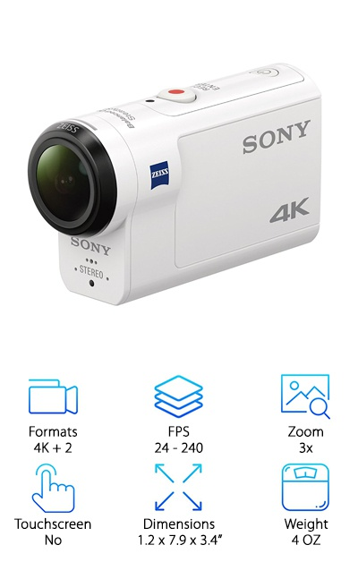 Another lightweight 4K camera designed for adventure, the Sony FDRX3000/W, has an included waterproof housing that makes the camera dustproof, shockproof, and waterproof up to 60 meters (197 feet). The body itself is also splash proof and freeze proof. The camera can take 12MP stills and steady video thanks to the Balanced Optical SteadyShot image stabilization. It can also be connected to Wi-Fi, Bluetooth, and NFC, and can track your film journey with GPS, including how fast you were going as you moved. This makes the camera great for travel, families, adventures, and documentary filmmakers. It shoots 4K at up to 30 FPS, HD up to 120 FPS, and 240 FPS at 800p. Plus, it's the lightest camera on our list by a hair. Last but not least, the built-in stereo mic has Wind Reduction technology, too. This makes the camera optimal for indoor and outdoor use.