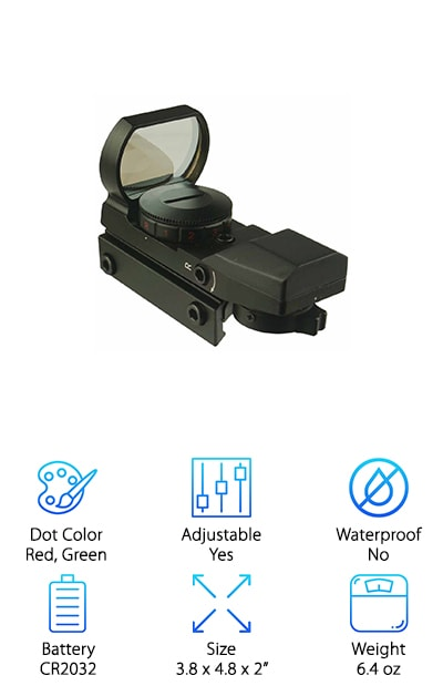 The last holographic sight with laser on our list is the GERO Tactical Sight that gives you really accurate sighting. Get this: The manufacturer tested it by smashing it with paintballs traveling around 300 feet per second and didn't even get a scratch. What does that mean? This is one heavy duty sight that's built to last. Plus, it's water-resistant and shockproof so you can use it in a variety of weather conditions. There's more. There are 4 different reticle patterns to choose from so you can make sure you see the target as clearly as possible. Oh, and the built-in Picatinny base makes it really easy to mount. Still not sure? Well, here's the kicker. This sight comes with an unconditional 1-year warranty and excellent customer service.