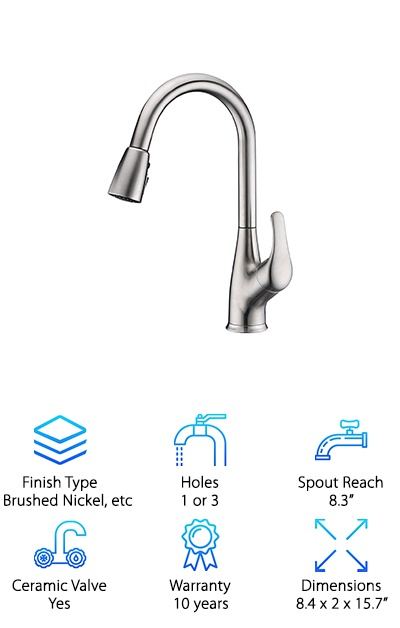 This Purelux faucet has the perfect height and hose length so you can naturally work at your sink without any uncomfortable bending or leaning. The spout rotates a full 360 degrees so that you can reach any corner of the sink or, if you need to, move the faucet out of the way altogether. This spray head has three functions. Choose between a spray or aerated water stream or use the convenient pause feature. This allows you to stop the flow without actually having to turn of the water. You can move the nozzle around without having to worry about getting water everywhere by simply holding down the pause button. This makes the spout surprisingly versatile as you can do a variety of tasks without worrying about getting water everywhere.