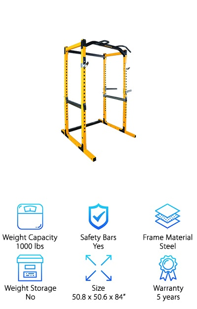 It may look pretty simple, but this is one tough piece of gym equipment. It has one of the highest weight capacities of the power racks we researched. Remember, just because it's simple, doesn't mean it doesn't have some great features. Adjustable dip bars help target tricky parts of your arms, back, and chest. The specialized chin up rack can hold up to 400 lbs. So, no matter how ripped you get, you can always work on your pull-ups. This is likely the best power rack for fitness fanatics who are into heavy lifting. It's big, it's rugged, and it can handle anything you throw at it. A quick note on the warranty: it's better than you think. The five-year warranty only covers components like bears, rods, pulleys, etc. The frame actually has a lifetime warranty. That tells you how serious the manufacturer is about their product! This is one power rack designed to go the distance.