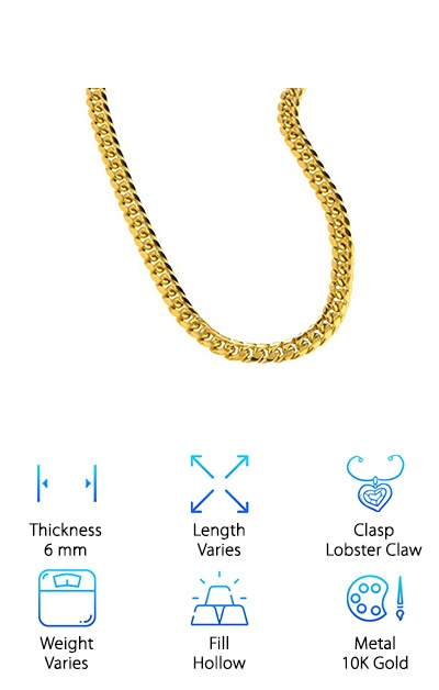 The JOTW Miami Link Chain is a hollow chain made out of real 10K gold. It's not plated or filled. It's real 10K gold. It's available in a variety of lengths, too, so you're sure to be able to find one that's the right size for you. You can get this one in 24, 26, 28, or 30 inch lengths so no matter how long you like to wear your chains, you'll find the right size here. The design of these chains is a little unique. What makes us say that? The links are just a little thicker than some of the other options so there isn't much space between them. This gives the chain a really cool look, more a solid piece with a lot of texture rather than individual links. Basically, it's a really nice piece to look at.