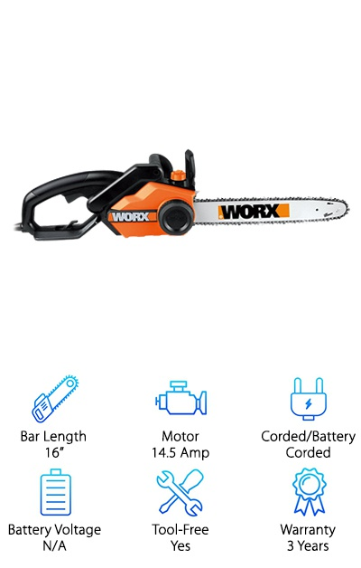 If you still haven't found an electric chainsaw that fits your needs and budget, then you will definitely want to check out the Worx WG303.1. It is perfect for anyone looking for a chainsaw that is a bit smaller or more affordable. It is still a sturdy tool, but it is lightweight and easy to handle. However, it still has a 16-inch bar, so unless you're cutting down large trees, you should have no problem cutting through limbs or logs in one pass. It is powered by a 14.5-Amp motor, which is still a great amount of power for a cheap electric chainsaw. It is a corded chainsaw so you won't have to worry about keeping track of batteries. You also won't have to worry about over tightening the chain on this chainsaw because it has an auto-tension feature. Like some of the best electric chainsaws, this tool features the convenience of an auto-oil system. You'll never have to worry about mixing oil and making a mess to maintain your chain. Instead, you can simply fill up the reservoir and monitor the oil level through the window. Finally, you'll be happy to know that this chainsaw is backed by a three-year warranty.