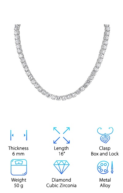 This chain is a great choice for anyone looking for something really stunning and beautiful to turn heads at their wedding. It makes a great gift to the bride from any member of the family and even comes in a gift box especially for the occasion. This tennis choker is made of AAA cubic zirconia. The stones are 6mm in width. This makes them lay nicely on any bride's neck. They are also great for any occasion. This necklace is 16 inches long and can be extended with a 1.6-inch chain. It only weighs 50 grams, so it won't be a burden on the wearer's neck. It is sparkling and gorgeous, with a beautiful shine that is sure to add to any special occasion without stealing the show. You'll notice the beautiful silver color and shimmering stones the minute you pull it out of the amazing gift box. This is sure to be a gift they'll never forget.