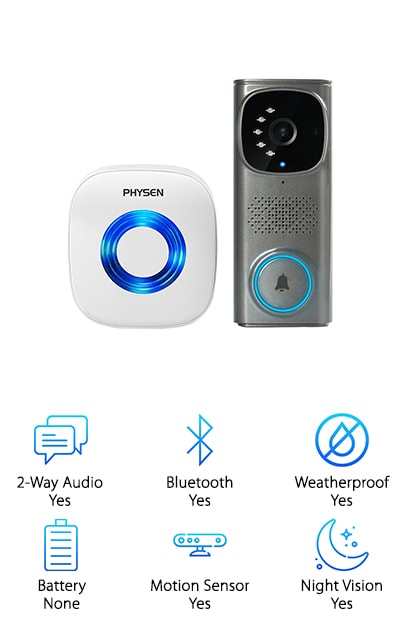 This video doorbell is a fantastic option for the hearing impaired, for a couple of reasons. The first is the LED light alerts on both the outdoor wired doorbell and on the indoor chime. The second is that the PHYSEN WiFi Camera Doorbell kit is expandable. Pair additional plug-in receivers with your doorbell, and place them all around the house. The more devices that are paired, the louder the chimes will be. They connect at a range of up to 300 feet! This WiFi camera doorbell offers crystal-clear HD video and 2-way audio. You won't be left guessing about the person on your doorstep. Just configure your doorbell using the included bracket, and then download the free application. Sync up and start surveying your property! A rainy night won't stop you from getting clear pictures, thanks to night vision and infrared LED lights. The PIR motion detector gets you a 160-degree wide-angle view, live. Make safety your first priority!