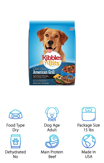 The yummy, healthy Kibbles 'n Bits Grilled Steak is ready for your adult dog of any size. It comes in a couple of sizes, great for either small or big dogs. This food is made from kibble mixed with little pieces of bites that taste like meaty chunks right off of the grill. The Kibbles 'n Bits Grilled Steak is made from delicious ingredients like beef and beef stock, ground corn, peas, potatoes, and added vitamins and minerals. It's made in the USA from yummy ingredients to give your dog a healthy diet. It even has a touch of cheddar cheese to give your dog that off-the-table flavor that your dog will probably love! It's a filling and healthy meal for your dog every single day.