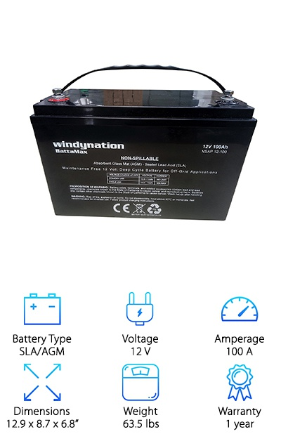 WindyNation SLA Deep Cycle Battery