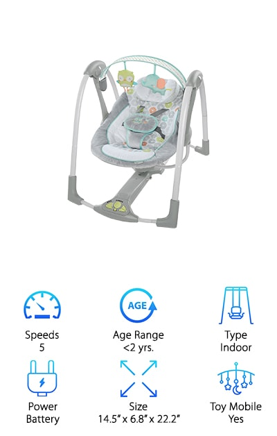 The Swing 'n Go Baby Swing from Ingenuity offers a super cute design on a low profile unit. It's slim when folded and you can easily carry it with you entirely one handed, which makes it easier to transport. It offers 5 different swing speeds, 8 different songs and 3 different nature sounds so you can find something that your little one is really going to like. Even better, it's practically silent when it operates, so it helps lull your baby into comfort. There's an auto shut-off timer that you can program to 30, 45 or 60 minutes and there are even different volume options to make sure the sounds aren't too loud for your baby. If you ever end up with a mess the seat pad and head support are easy to wipe down and the whole thing runs on batteries so you don't need to worry about power wherever you go.