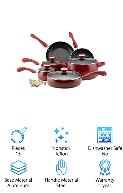 This nonstick porcelain cookware set from Paula Deen comes in a handle of cheerful color options: aqua speckle, butter speckle, blueberry speckle, coral speckle, lavender speckle, oatmeal speckle, and red. The set includes a lidded one-quart saucepan, a lidded two-quart saucepan, a lidded six-quart stockpot, a lidded 2.75-quart sauté pan, an 8-inch skillet, a 10-inch skillet, and a five-piece measuring spoon set for cooking and baking. The nonstick interior is made from DuPont Teflon that combines durability with easy cleanup and cooking. The handles of each piece of the set are double-riveted with a soft touch exterior that won't slip out of your grip. A porcelain ceramic exterior is easy to clean and durable, too. Prefer to hang up your cookware? Copper-plated rings at the ends of each handle let you do that, too! The lids are made from tempered glass so you can keep an eye on your recipe without lifting the lid. The cookware is also oven-safe up to 350°F. This set pretty much covers everything you'll need to get cooking!