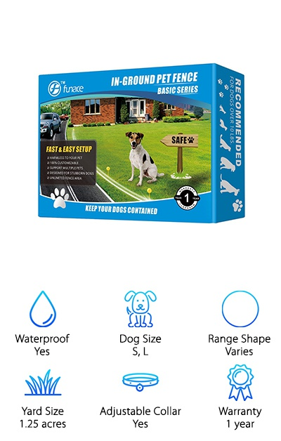 This FunAce system can support unlimited collars so you can keep all your pups safe and sound in your yard. It's a great pick for any dog over 10 pounds, too. What is so unique about this system is the built-in filter that blocks out any interference from electronic devices. What does that mean for you and your dog? No random shocks or glitches. This will keep your dog from getting confused, resulting in faster and more effective training. This kit comes with 2 collars so it's perfect if you have a 2 dog household. And get this: in addition to the warranty, you also get a 30-day no-risk guarantee. If you don't love it, just return it within 30 days for a full refund.