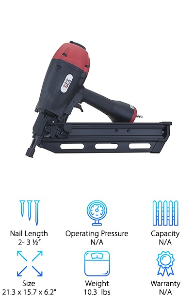 This framing nailer is designed for professionals but can be used by a homeowner or hobbyist as well. It shoots 28-degree wire or paper collated clipped head and full offset framing nails, which can range in size from 2 to 3 ½ inches. This size should be adequate for any large scale projects you're hoping to tackle. The nails load from the rear, which is convenient and makes the device more efficient. The tool-free adjustable depth allows the user to properly set each nail to ensure it fires right every time. This nail gun is a perfect solution for anyone looking for a budget conscious way to get the job done. It has an ergonomic grip and comes with a work contact element. This prevents accidental firing or misfires. The nailer also comes with a no-mar tip to protect work surfaces from damage. It also comes with a multi-directional exhaust cover that rotates 360 degrees so that the user is consistently comfortable.