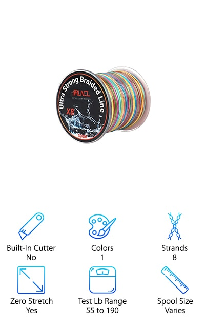 Last on our list is from RUNCL. This is an 8-strand braided line that's really rough and resistant to abrasion. You can use this line just about anywhere and don't have to worry about it being damaged from scraping on rocky shores or logs and plants on the bottom of the lake. That's not all. It has superior knot strength and zero-memory so you'll be able to keep it neat and tidy. Because of the high sensitivity, you'll feel every nibble and have less chance of telling the story of the one that got away. This line is multicolored with color changes every meter. Not only is this cool to look at, it's also a great way to help you estimate both depth and distance.