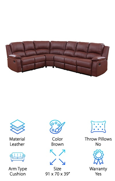 "The best rated leather sofas are here on this list, and this one is a favorite of ours. Why? Because even big families are able to take advantage of the Divano Roma Sectional. Movie nights will never be the same again because 6 family members can fit comfortably on this very large couch. This is a bonded leather couch, crafted into two sections, which is why it is called a sectional. They fit together to form an ""L"" shape, so it will fit very nicely in the corner of your living or sitting room. The leather is dark brown, with overstuffed padded seats, and cushioned armrests. This is the kind of product that stays in your family for decades, only giving more pleasure as the fabric gets a little worn. And don't forget: Both end chairs recline. Grandpa can take a nap, dad can watch his football game, and the whole tribe can gather around this sectional on holidays."