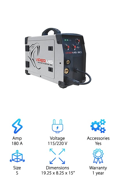 One of the best 220V MIG welder choices is the dual voltage Razorweld Viper 180. An included pigtail lets you switch between 115 and 220 V. Other accessories include a flowmeter, 10' MIG gun, 9' ground, and a stinger. Features include a gas or gasless wire function, burnback adjustment, a cast aluminum wire feed assembly, and compatibility with 11 lb wire spool. At 180 A it reaches 30% duty cycle. Want to be able to do MIG and stick welding with the same machine? The Viper180 is your dream come true! Stepless adjustments for the voltage and wire feed make setting welding parameters fast and easy. The whole rig weighs just 30 pounds, so it's easy to transport, move around big projects, or store away between uses. Enjoy the versatility of dual voltage and dual welding options, all boxed up in a high-quality package.