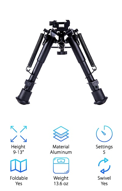 This is a great pick for people searching through tiptop bipod review and looking for a great alternative. This bipod is made of heavy-duty aluminum, which is both durable and lightweight. This makes it a perfect choice for people looking for something that can keep their gun protected, as this includes a rubber padded top to protect the forend of the gun. This bipod pack also includes a sling adapter that can attach to Picatinny rails. It also has an attachment point for the sling. This allows you to quickly attach and detach the bipod from the rifle. With a notched leg design, this bipod makes it incredibly easy to change the settings.  This package comes with everything you'll need to get started. This includes a bipod, a weaver rail, and a mount adapter. This package also comes with a worry-free warranty that allows you to buy with confidence.
