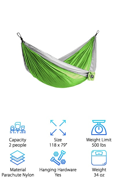 If you're looking for a hammock with extra-long straps and durable carabiners to make hanging a snap, the Flagship-X Camping Hammock might be just the one for you. This hammock has a lot of great stuff to offer. For one, it's made or weather resistant, triple-stitched parachute nylon. This is a double hammock and it's rated to hold up to 500 pounds. There are 8 colors to choose from, too, so you can get one that stands out and fits your style. Flagship-X is a small 4-man team that loves the outdoors and aims to make products that will help you love it, too. Get this: it even comes with a paracord bracelet. What's so special about that? It's actually a survival tool that includes a rope, fire starter, knife, and whistle.