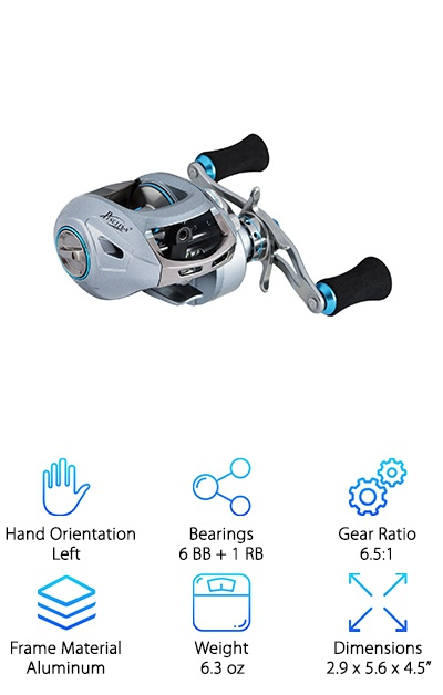 Another option if you're looking for best baitcasting reel for the money, the Piscifun Saex Baitcasting Reel is a compact, lightweight powerhouse. Thanks to the aluminum alloy frame and machined aluminum spool, this reel is exceptionally durable, too. The ball bearings are all double-shielded meaning they'll help you cast smoothly on years of fishing trips. Thanks to the 270-degree magnetic brake system, you can combat wind with just the touch of a finger. For more power when you're reeling in your next big catch, take full advantage of the extended swept-back handle. It also has a pretty impressive gear ratio for a reel in this price range. Oh, and here's the best part: it comes with a 1 year worry-free warranty.
