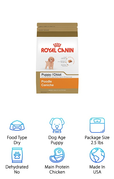 Royal Canin offers breed-specific nutrition in their dry poodle food for toy or miniature poodle puppies from 8 weeks up to 10 months old. This dry kibble is tailored to the breed-specific needs of toy and miniature poodles with precise protein levels and omega-3 fatty acids to support the poodle's continuous hair growth and coat health. Since poodles also have a long lifespan, this puppy kibble is designed to provide all of the nutrition they need to support healthy aging later in life. Probiotics and prebiotics help to support a puppy's developing digestive system, and vitamins and antioxidants provide support to their immune system. Even the kibble's size and shape is customized to the unique muzzle and bite type of the poodle to encourage chewing during meals. This Royal Canin kibble is a perfect choice if you want to pamper your puppy with a dog food made just for poodles!