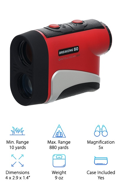 The Breaking 80 rangefinder comes in an IS400 model with a 440-yard range, an IS500 model with a range of 550 yards, and an IS800 model with a range of 880 yards, each tournament legal with an accuracy of +/- 1 yard. The rangefinders offer Intelliscan 8-second continuous scanning and PinSensor 3 precision technology. It measures 4 x 2.9 x 1.4 inches and is lightweight. Their lifetime replacement guarantee following the one-year warranty will provide you with a new IS400 model for a nominal fee if your registered unit breaks. These budget rangefinders are still well-made, and the company (started by golfers wanting to provide less expensive rangefinders) has updated the original design to improve the battery compartment, more durable eyepiece, and better lens protection. Each rangefinder comes with a carrying case with belt loop and a 3V CR2 battery.