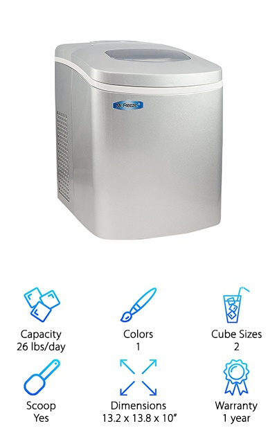 The Mr. Freeze Maxi-Matic features two ice cube sizes and the ability to make up to 26 pounds of ice per day. The large 1.7-liter water tank means you don't have to fill it up constantly. The overall footprint of this ice maker is compact despite its solid capacity, so it's easy to fit into an RV or camper kitchen, or a small home. Touch-button controls let you select from two ice sizes and turn the machine on and off. Indicator lights alert you to low water levels or a full ice basket. The lid has a viewing window for you to keep an eye on your ice, and the Maxi-Matic also comes with an ice scoop to get you started! It's a lot faster than relying on those ice cube trays in your freezer, and it doesn't take up much space at all! From camping to entertaining in the backyard, this portable ice maker is super portable! The simple controls are easy to figure out, and you'll be making tons of ice in no time.