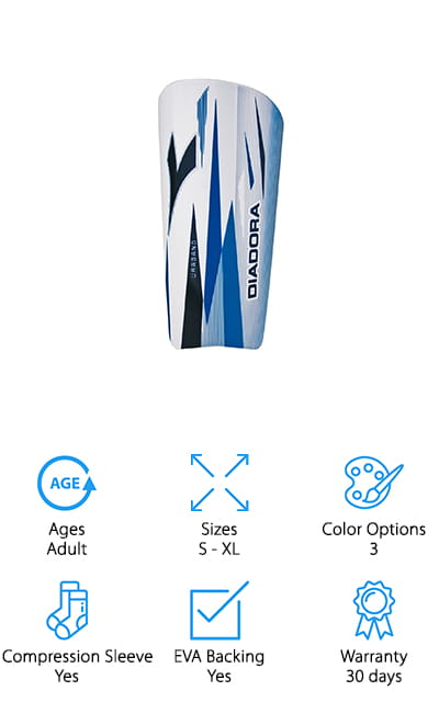 Diadora's Uragano guards are made for adults, but the smallest size can easily fit your teens and pre-teens. There are three colors available, including blue, green, and white. They look good! Each pair comes with the fitting compression sleeve in the unique Diadora moisture-resistant fabric, so you don't have to worry about buying separate compression sleeves. The shell is made of high-quality PP plastic that is excellent at absorbing shocks when paired with the EVA foam backing. They provide a sizing chart so you know what size you should be ordering. Avoid the hassle of returns! If your kid isn't fond of Velcro, these have a buckle that they won't mind nearly as much! With the sizing and the quality, these are the perfect boys' soccer shin guards, especially for taller teens and preteens. They are also a good transition into adult shin guards, so they can get the feel for the differences. We couldn't pass them up!