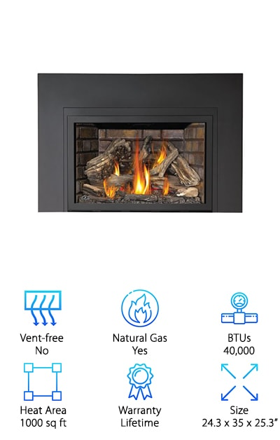 This Napoleon Built-In gas Fireplace is a little different from the rest of our list but we think it's the best direct vent gas fireplace we found. What exactly is a direct vent gas fireplace? Well, as you might have guessed, this one isn't vent-free. But don't worry, you don't need a chimney! This fireplace is designed to be vented directly through the wall or roof. The cool thing about this is it uses the cold air from outside for combustion and keeps more of the warmth where it belongs: inside your house. It has an electric ignition system and a battery backup in case there are issues with the power. Want to create some ambiance without turning on the heat? The night light feature is just what you need.