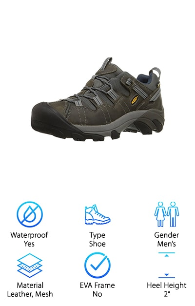 KEEN is a great brand when it comes to the outdoors and these hiking shoes are a great example of why. The uppers were designed to last, even if you wear them every single day. They're made of waterproof nubuck leather and hydrophobic mesh so they will definitely keep you dry. That's not all. They're also really durable and built to last. Plus, they're still breathable and keep your foot cool and comfortable while you climb. To help keep the inside of the shoe soft, there's a padded tongue and collar. Plus, there's a large rubber toe guard to keep your foot safe from anything you might bump into on the trail. As far as grip, the rubber sole is great in snow and mud. The lugs really work well on a variety of terrain.