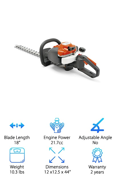 If you want the portable convenience of a gas powered hedge trimmer but prefer the easy operation and low weight of electric options, the Husqvarna 122HD45 might be your dream come true! It's a very lightweight gas hedge trimmer with an easy-to-use spring-assist Smart Start engine design with Air Purge to remove air from the carburetor and fuel system. The 18'' blade with double-sided edges can make quick work of small to larger hedges. Vibration dampeners and a low-noise engine make this gas-powered trimmer even easier to use! You won't feel like you're being rattled to pieces, which helps prevent fatigue if you've let your hedges run wild for too long. Another nice feature is the exhaust channel, which faces towards the blade rather than towards you! The two-year warranty is a solid indicator of quality as well. If you value lightweight and low-noise designs, you'll love this trimmer!