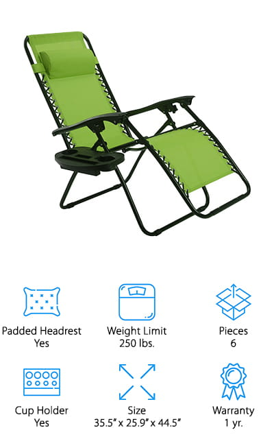 You'll get 2 lounge chairs in this set that each come with a tray for your beverage or other items and a padded headrest. Available in a variety of different colors, these chairs recline and lock into just about any position that you could want. They are made with steel tubing to resist rust and ensure durability and have a UV resistant fabric over the top to keep you more comfortable and protect the chair from the elements outdoors. This set will let you and your favorite guest feel comfortable and relaxed while you spend time in the yard. Able to support up to 250 lbs. each, these chairs are lightweight and easy to fold down so you can take them with you wherever you might want to go, from the beach to your friend's house to just storing them indoors.