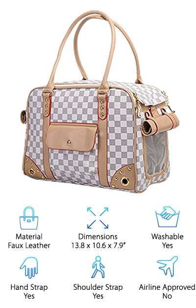 "The Betop Pet Carrier Tote is available in white and brown patterns as well as small and large sizes. The small pet purse has mesh on both ends, while the large size has mesh on one side and three grommets on the other side for air holes. Both have an extra-long hand strap that can be slung over your shoulder. You also get a detachable, adjustable shoulder strap, too. The bag is made of sturdy synthetic leather that is easy to wipe down in the event of a mess and resists staining. Two pockets, one zippered and one with a snap closure, give you storage space for treats and other necessities. A removable quilted pad and leash clip keep your pet safe and comfortable. You can access the inside of the bag through the top, which fully unzips with double-sided zippers and folds back. This pet carrier purse is attractive and subtle, with ""shades"" to cover the mesh panels as needed. The bag is available in 13.8x10.6x7.9 inches in its small size and 15.7x11.8x7.9 inches in its larger size. Large grommets at each corner provide extra ventilation for your pet, too. This tote is similar to a few of the options from WOpet, and the small tote is a good option for toy breeds and other fun-size little pets."