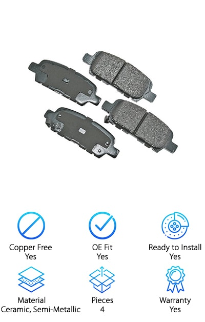 The Akebono ProACT brake pads come as a set, allowing you to replace both rear side brake pads in your vehicle at the same time. These OE-fit pads are formulated from semi-metallic, ceramic, and organic materials. If environmental impact is important to you, you can feel good about making Akebono your choice. These premium pads are designed to be ultra-quiet with noise-control and vibration-resistant features. Even better, they promote a longer rotor life, keeping your entire rear braking system healthy. That's great news for anyone looking to save money on repairs in the long run! The sleek design and quality blend of materials used to eliminate the need for an initial break-in period. You will be driving in comfort and style as soon as these pads are in place! For superior performance and an optimal manufacturer design, you can feel confident when you choose Akebono.