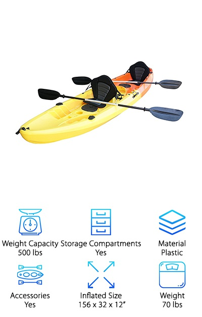 For a tandem kayak that's comfortable enough for you to spend hours out on the lake fishing or just relaxing, you can't get much better than this one from Nixie Sports. Paddling is almost effortless and the backrests are exceptionally comfortable. There's also plenty of room on this best tandem fishing kayak to store your supplies for the day. It comes with bungee straps and even has cup holders. And get this - there's a lockable hatch where you can store your valuables. It has 4 flush mounted fishing rod holders and multiple foot rest positions so you can make sure you're comfortable while you're waiting for the fish to bite. They even offer a 3 year hull warranty, which to us shows that stand behind the quality of their product.