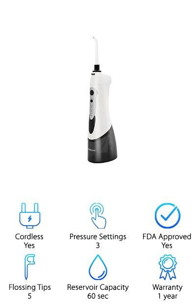 MOROCHO's cordless water flosser is loaded with some impressive features. With 3 cleaning modes and high-pressure pulsed water, it can remove up to 99.9% of plaque and food debris. There are 5 tips included with this and it's ideal for multiple users. In all, you get 2 classic tips, 2 jet tips, and 1 periodontal tip. One of the things that impressed us the most about this one is the battery life. When used efficiently, a full charge can last up to 2 weeks. This makes it exceptionally good for travel because you don't even have to worry about bringing along a charger. But, if you want to bring it along, toss it in the included travel bag and you're all ready to go. Get this: it uses a simple USB charger.