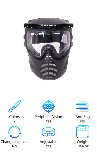This is a great mask for the whole family, one size fits all but it is adjustable in the back with a strap. It's a great choice for matching team masks as well. The lens is attached to the mask, so the entire mask ensures that your face is safe from the paint. This also improves your ability to clean it well. It comes with an attached visor to block out the sunlight in outdoor games and keep you playing. The vented mouth allows you to breathe easily and yell at that one guy who won't take cover. It's made in the USA, so you can feel patriotic when wearing it to your next match. This is a great mask for younger children, as it runs a little small, but can still fit many adults well. The next time your kids want to play airsoft or paintball you can send them along confidently with this mask in tow.