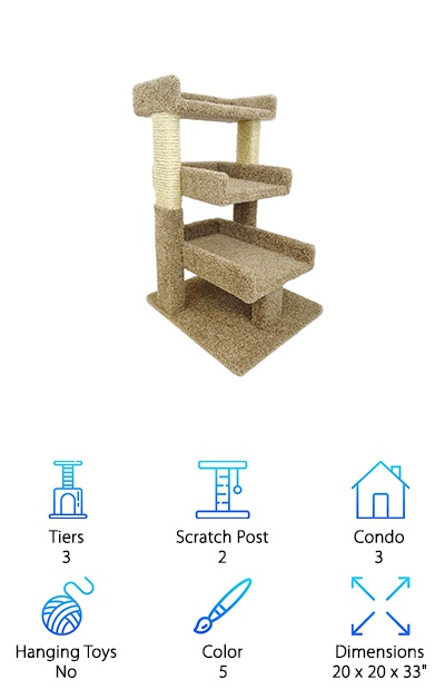 Do you want a new cat condo, but don't have a lot of room for some of the larger perches? This is the one for you! This model proves you can choose a smaller option and still get all of the amenities you're hunting for. It fits snugly into any corner of the room and still offers enough space for three cats seeking a spot to rest. Two scratch posts are also provided. Simple, straightforward, and it gets even better: this cat tree arrives fully assembled and ready to use in 5 different color options. While some cats are solitary creatures, others love to be social, and you can position this condo in any direction for single or multiple critters. Older cats may also find it easier to climb and reach the top. Kittens, too, might have an easier time climbing and practicing their daredevil moves. It all adds up: if you want to start with something basic that doesn't take up a lot of real estate, check this one out. Sometimes the modest choice is the right way to go.