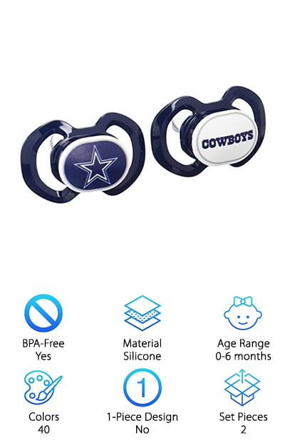Game day will never be the same, now that you have the best sidekick ever! Deck your little one out with one of these awesome Baby Fanatic pacifiers, sold in a set, and featuring forty different NFL teams! Now baby can show his or her support for your favorite team, too! But style isn't the only awesome feature offered by this pacifier. With a slanted orthodontic nipple, you can feel good about equipping your bundle of joy with Baby Fanatic, because it won't adversely affect oral health. BPA-free and made from silicone, these pacifiers are healthy and safe, too! Perfect for little ones from newborn up until six months, the Baby Fanatic lasts for the entire season. It makes the perfect gift for your favorite baby and the sports enthusiasts in his or her life. If the game is a main event in your home, and you're looking for the best pacifier for newborn babies, look no further!