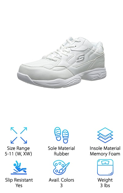 Designed specifically for walking, the Skechers Albie Relaxed-Fit is a classic, casual option that can handle the fast-paced nursing lifestyle. The relaxed fit ensures that, while you may not always be relaxed at work, your legs, knees, and feet will feel great. This classic Skechers sneaker comes with a memory foam insole and a slip-resistant rubber outsole, resulting in the ideal combination of comfort and safety. A padded leather collar and tongue provide additional relief for tired feet and keep pain at bay. Best of all, the Skechers Albie Relaxed Fit is available in a range of sizes, including both wide width and extra wide width. Nurses who need a little extra room on the sides of their shoes can find the ideal pair in one of the three colors offered by the Skechers Albie. Comfort and style combine to bring you the perfect fit and keep you headed in the right direction at work.