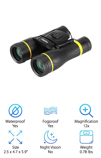 These binoculars are the perfect pocket-sized accessory for any adventure. They can help you see the big picture no matter where you go. So it doesn't matter if you're hunting, traveling, or watching a football game. These binoculars come with high power magnification that allows you to see up to 12x closer. With clear BaK4 prism lenses, these binoculars offer you a clear and crisp picture of it all. The lenses are also fully multi-coated, which allows you to see clearer with superior light transmission from these stellar lenses. They come with an incredibly comfortable non-slip frame that allows you to easily hold them while on the run. They are coated with a rubber material that makes your grip even more secure. They come with a waterproof and dustproof design that allows you to explore no matter the conditions.  These are the perfect binoculars for any adventure, no matter the conditions. They allow you to securely explore and see everything you want to.