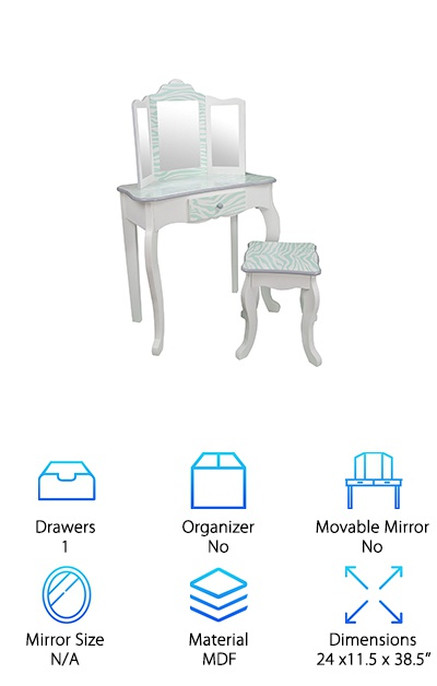 If your little one has taken an interest in makeup and beauty, the Teamson Kids Vanity Table is a great way to let them experiment without digging into your stuff to do it! The table features a central mirror with two smaller angled mirrors on either side to get a full view from every side. A single drawer provides storage for brushes and makeup sets. This vanity for kids comes in a variety of accent colors on a white or black MDF frame painted with lead-free paints. Kids three and up will love this children's makeup vanity and the included stool! The table is 23'' high and the chair is 13.5'' high, so it's definitely child-sized! Choose from fun animal prints in colors like pink, purple, and blue. It takes about 30 minutes to assemble and provides hours of play time!