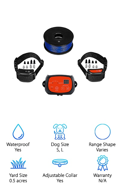 This electric dog fence works by first sending a warning beep. If your dog continues to advance beyond the boundary, it will give shocks that get stronger and stronger until your dog returns to the permitted area between the boundaries. It works for dogs weighing anywhere from 10 - 120 lbs, which is a really big range! Guess what else? It comes with 2 collars so if you have 2 dogs of almost any breed, this kit will work for both of them. You get 656 feet of wire so you can customize the outline to the edges of your yard or continue it around your garden or flowerbeds to keep them protected, too. Just make sure you leave your pup large enough areas to pass through and you're good to go!