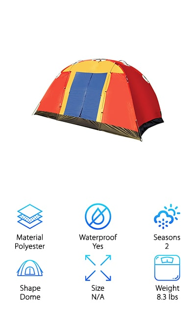 The Lucky Tree Family Large Tent is a good choice for camping out on warm spring and summer days. It's really lightweight, making it perfect for backpacking. It's made with a polyester coating that keeps out both water and harmful UV light so you can just relax while on your adventure. With one large door and a D-shaped window, this tent is great for families with young children because it's allows you to keep them somewhat contained. No second door to worry about then wandering through. One feature we liked about this tent is the inside hook. It's perfect to hang a light or a great place to stash your bag. Whether you're camping for the weekend or spending a night in your backyard, this is a great one to share with the family.