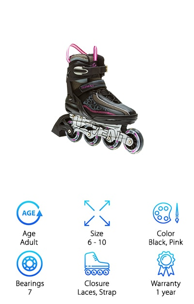 The last Rollerblade review is on a pair of women's skates that are functional and really stylish. The boot and wheels are black with white and hot pink accents. At the top are 2 bright pink tabs to help you pull these skates on more efficiently. The aluminum chassis is lightweight and tough. As for comfort, the soft boot keeps your feet comfortable but there are laces and a buckle to give you even more stability and support. These are a really great pair of skates for someone just getting started. They're supportive and durable and designed to be used at recreational speeds. Plus, they look sleek and stylish. The boot isn't as bulky as it is with some other styles and we really like the way the light colors play off of the dark ones.