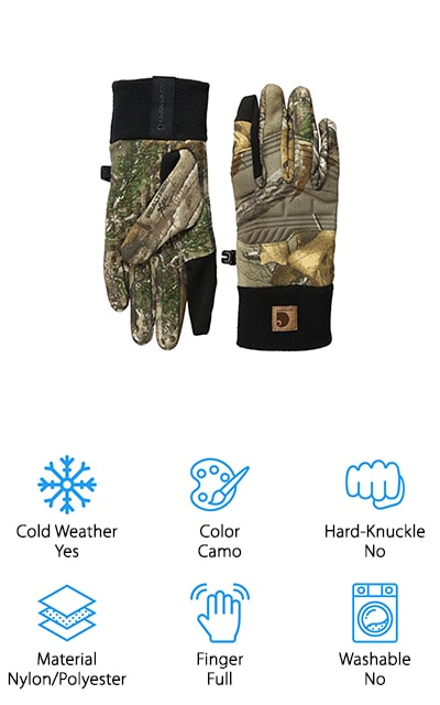 Carhartt makes some of the best products on the market and these shooting gloves are no exception. These are some pretty awesome extreme cold weather shooting gloves. The Carhartt shooting gloves are made of nylon and polyester with a little bit of spandex mixed in. They have a silicon grip on the palms and a fleece cuff for maximum comfort. The index and thumb fingers on these gloves are also touchscreen capable. These are actually a nice pair of gloves for the price that you are going to pay. The shell of the glove is quiet and has a neoprene trim. We really like that it has the fleece cuff rather than the stiff cuff that most of the other gloves have on them. These offer great flexibility, durability, and maximum performance when it comes to shooting.