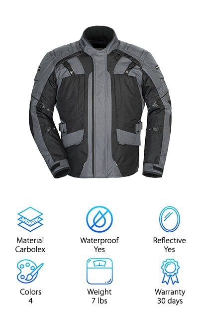 Do you ride every day, or every weekend, no matter the weather conditions? Cold, wind, rain and snow can all put a damper on things. Eliminate those nuisances by wearing the Tourmaster Series 4 Motorcycle Jacket. Sure, you cannot change the weather, but you can change how your clothing performs when it is too hot or too cold out. The Tourmaster has an outer shell made from tough, durable Carbolex 600 fabric. There are 9 pockets. 4 on the front (2 on each side,) 1 on the left sleeve, and 4 inside. The insulated liner is removable. The jacket has a rain guard barrier, so you are going to stay dry. And if the day turns humid or warm, open the pipeline vents on the chest, underarms and the back. Still not comfortable? Deploy the hidden hood rolled into the collar, and protect your face and neck. The Tourmaster comes in 4 different colors with reflective sections for safety.