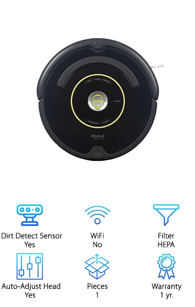 If you're trying to figure out which Roomba to buy, the iRobot 650 gives you the navigation system that helps to get under and around your furniture as well as the 3 stage cleaning system. It can also be started by simply pushing the button on top or you can schedule it for up to 7 times per week. When it's running low on battery it automatically seeks out the charging station and docks itself so that it's recharged and ready to go when you want to use it the next time. It's short enough to fit under most furniture and it can adjust automatically to different floor types. It comes with 1 virtual wall barrier so you can stop it from entering places you don't want it and an extra filter so that it's ready to go even longer. The dirt detection is also able to find even dirtier sections of the floor and target these for advanced cleaning. Plus it can get edges and corners with the edge sweeping brush.