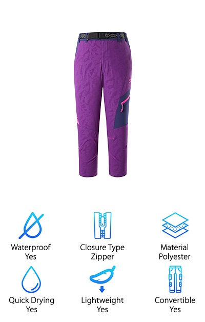 Makino's Quick Dry Pants are more than quick dry. They're waterproof, too, and they have UV protection right in the material of SPF 50. The fabric is mostly polyester but there's also Spandex integrated to help give the fabric a nice 4-way stretch. They have a snap closure and elastic on the sides of the waistband, too. And, get this. For extra comfort and a better fit, you can actually increase and adjust the waistband a whole 4 inches. Plus, they're easily convertible to shorts, just zip off the bottom and you have a short pair of cool capris. They're a good looking and functional pair of pants that are available in 11 different colors and styles, too. And here's the kicker. They offer a 30-day return and replace service and a 3-year limited manufacturer warranty.